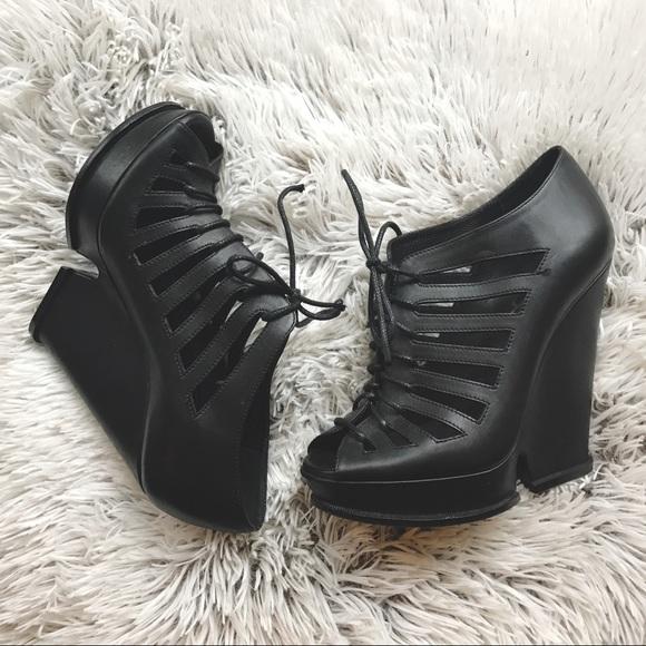 yves saint laurent shoes hortense black wedges poshmark rh poshmark com